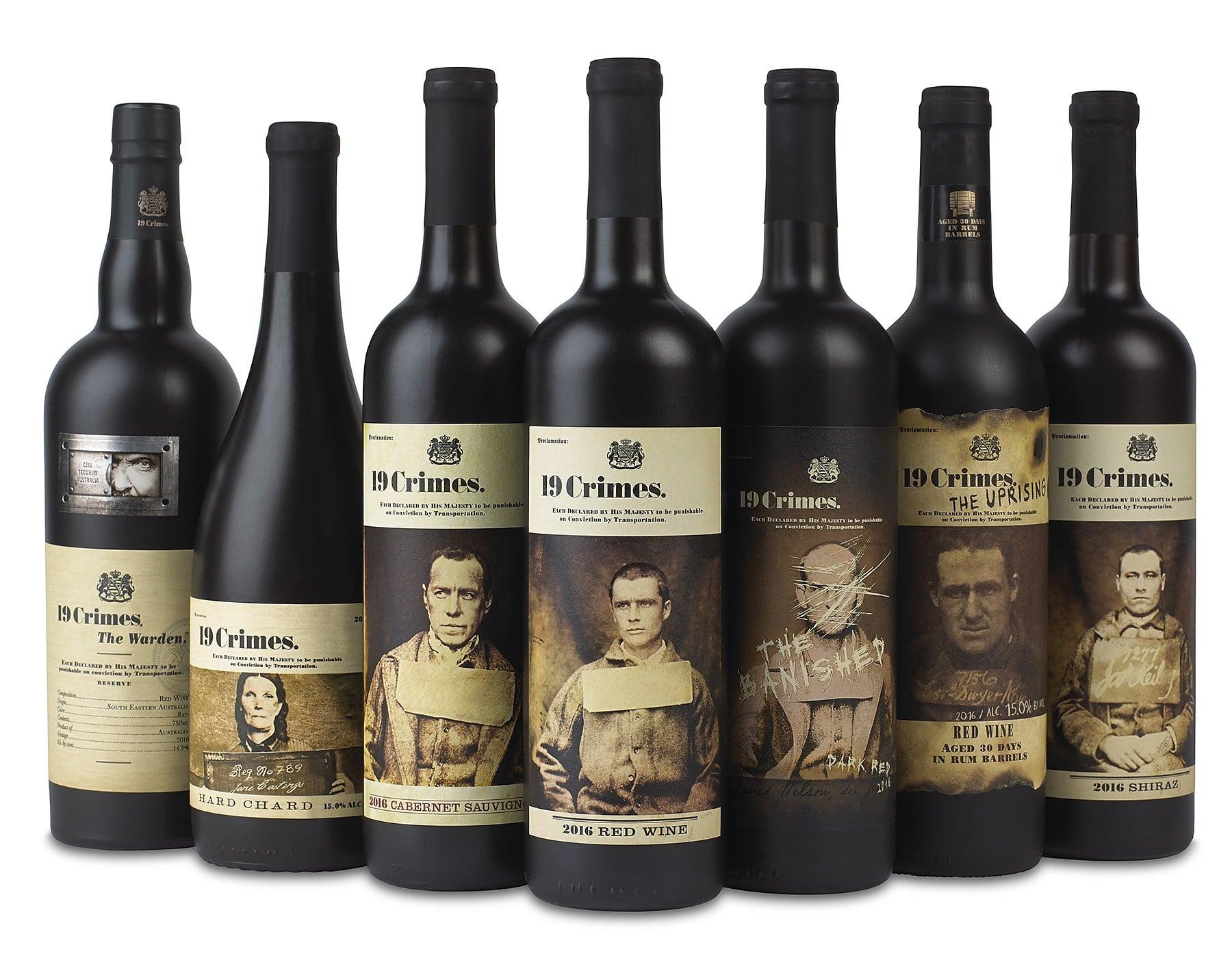 Gammes de vins 19 Crimes. Étiquettes en réalité augmentée