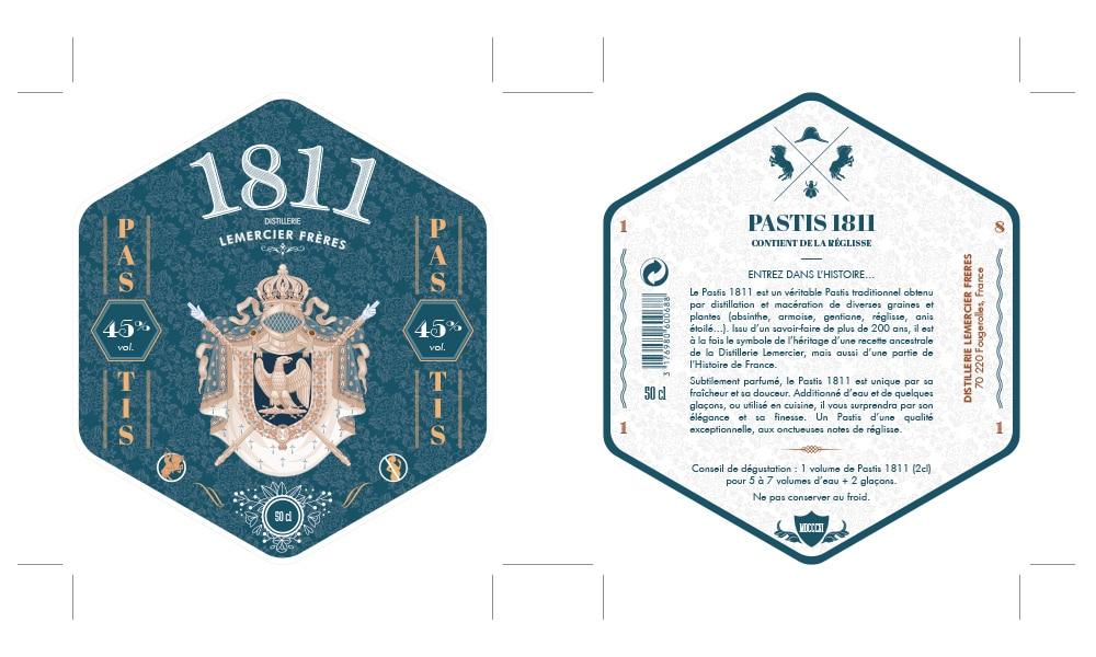 Label and back label Apéritif Pastis 1811