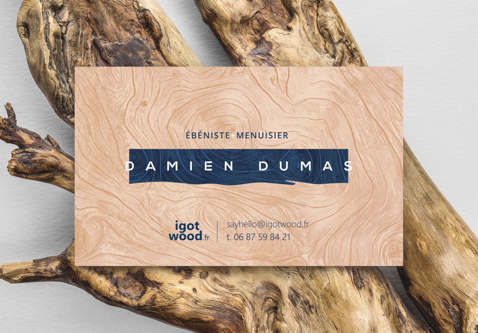 Carte de visite du menuisier ébéniste Damien Dumas