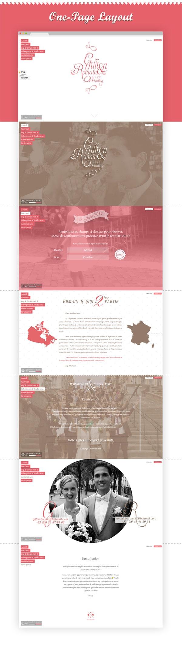 "Création site internet mariage. Site web HTML5 en ""one page scrolling"" typé ""Flat design""."