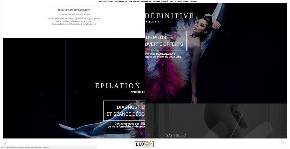 """Effet """"Split screen"""" en défilant verticalement le site internet."""