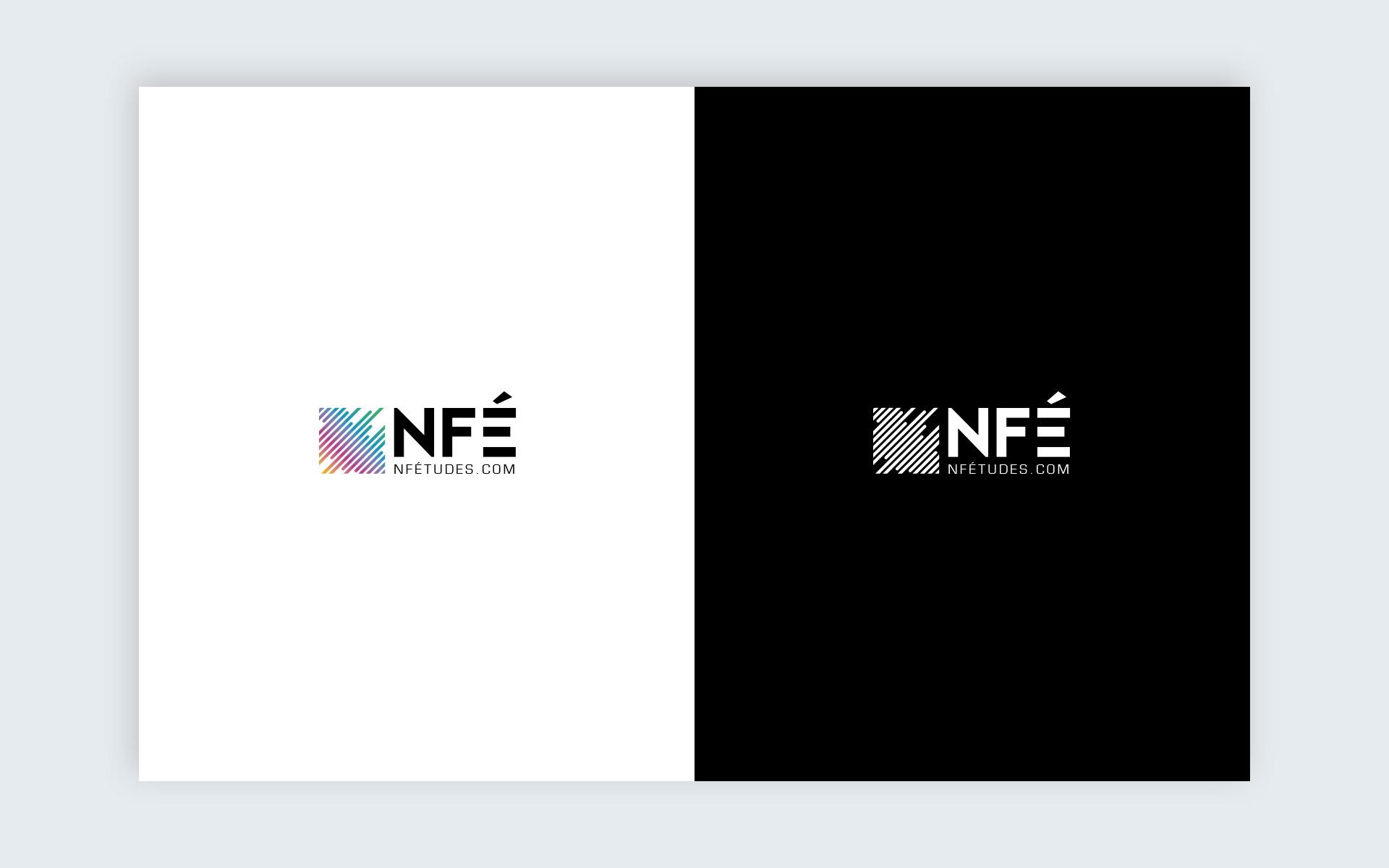 logotype réduit NF Etudes en couleur et sur fond noir
